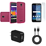 Alcatel Raven | Verso | IdealXCITE | CAMEOX - Bundle: Slim Fit [Scratch Resistant] TPU Gel Case - (Hot Pink), Glass Screen Protector, 10W High Power Wall Charger with Micro USB Cable, Atom Cloth