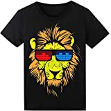 LED T Shirt Sound Activated Glow Shirts Light up Equalizer Clothes for Party(Lion)