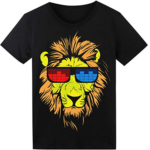 LED T Shirt Sound Activated Glow Shirts Light up Equalizer Clothes for Party(Lion)]()