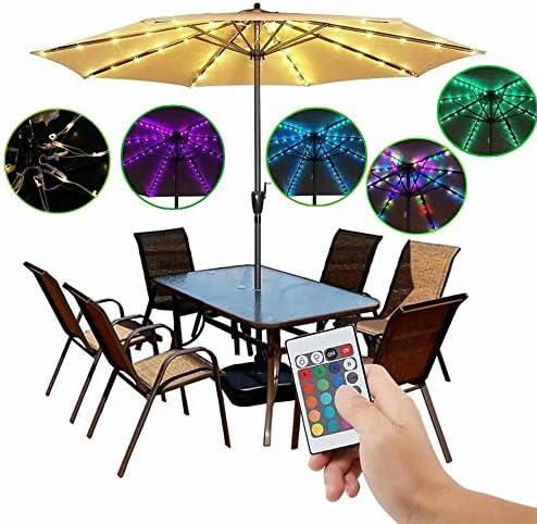 LED Sonnenschirmleuchte , Lichterkette für Sonnenschirm , 104 LED 8 Zweige Lichterkette für Schlafzimmerfenster Vorhang Party Decor , Sonnenschirmleuchten mit Fernbedienung und Timer, 4 Modi