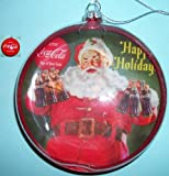 Coca Cola Glass Disc Santa Claus Christmas Ornament