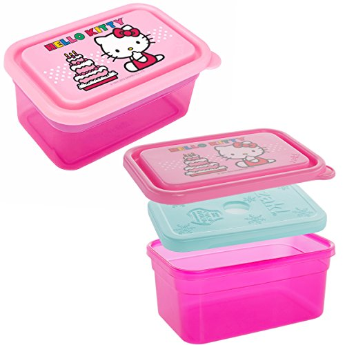 Zak! (2 Pack) Hello Kitty 13oz Plastic Kids Food Storage Containers With Freezer Packs