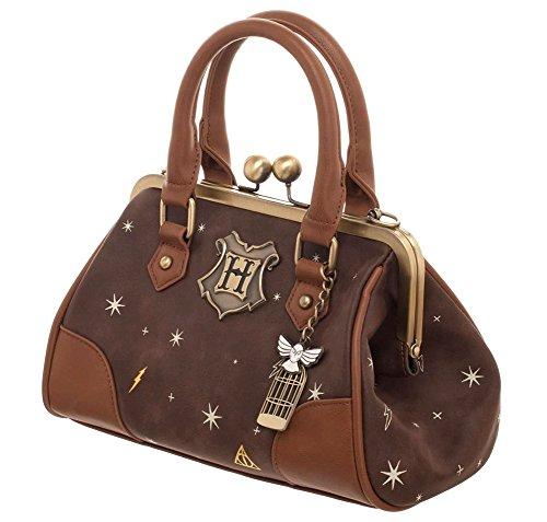 Bioworld Harry Potter Celestial Kiss Lock Handbag, Brown and Gold from Bioworld