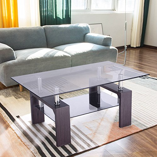 New Rectangular Glass Coffee Table Wood W Shelf Living Room Home Furniture Buy Online In Uae