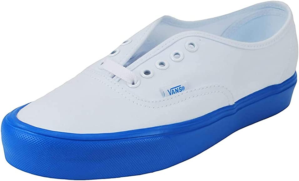 blue and white sneakers