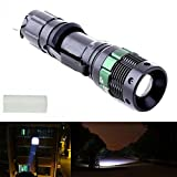 UltraFire 3000 Lumens Zoomable CREE XM-L Q5 LED Flashlight, Adjustable Waterproof 18650/AAA Torch Light (Black)