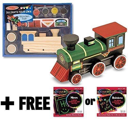 Melissa & Doug Wooden Train Decorate-Your-Own Kit + FREE Scratch Art Mini-Pad Bundle [23818]