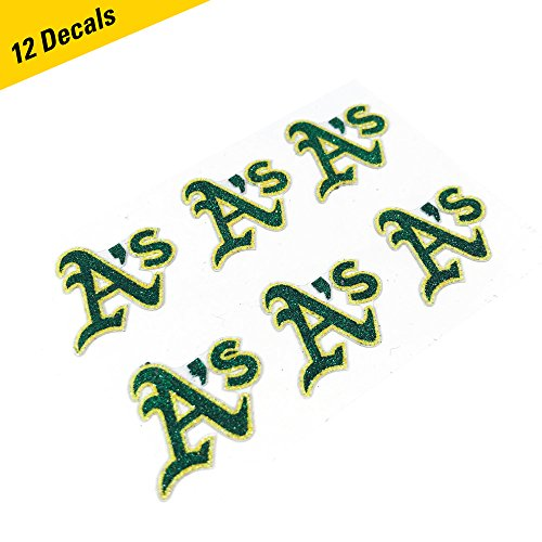 Oakland Athletics MLB Glitter Cheek Decals, Perfect for Game Day and Tailgate (12 Decals) ()