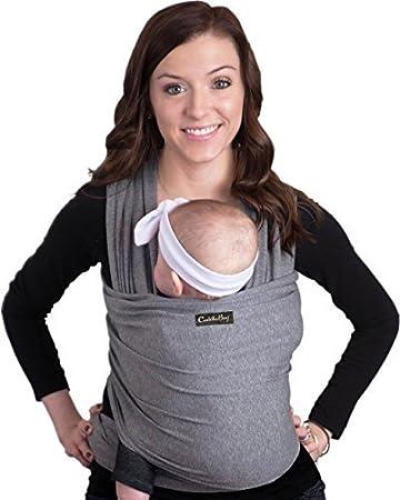 Porte bébé CuddleBug - écharpe de portage grise pour bébé - entiérement naturelle - taille unique (noir) BlackWrap1