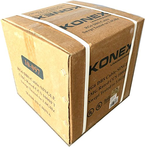 KONEX RG6 COAXIAL CABLE, BLACK, UL CMG In-wall Rated. 1000 FT FEET FOOT DIGIPARTS 10-097