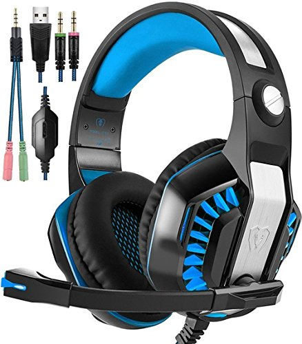 Beexcellent Gaming Headset, Stereo Gaming Headphones Noise Isolation / LED Light / Bass Surround Over-ear / Mic USB & 3.5mm Wired For PS4 PC Laptop Mac Games - Black+Blue