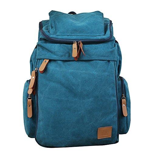 WTUS Mujer hombres de la bolsa de lona de nuevo retro al aire libre el gran viaje mochila mochila mochila de moda para Mujer Azul
