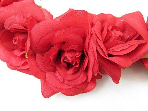 Rose rouge cheveux fleur couronne bandeau Guirlande vintage/festival/style bohème Motif floral A63* * * * * * * * exclusivement vendu par–Beauté * * * * * * * *
