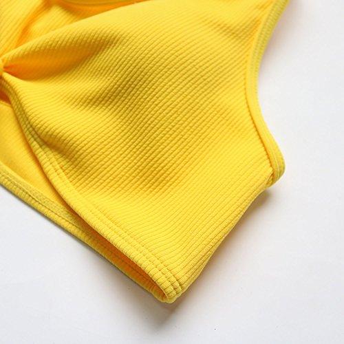 Donne Giallo Sexy Da Imbottito Superiore Costume L'alto Spingono Bagno Bikini Di Il Pezzi Bicchierino Del Due Le Vestito Nodo Verso Swimwear RS1qRd