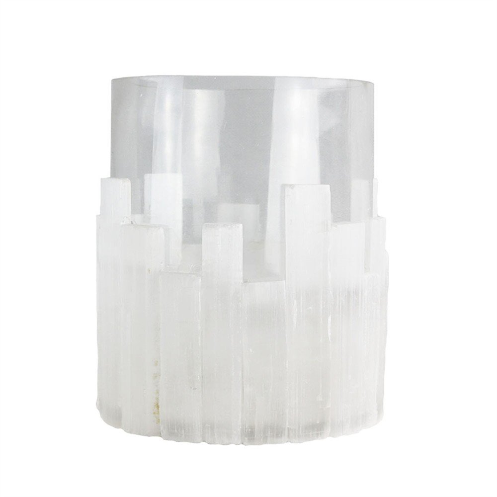 Benzara White Selenite Hurricane Votive Candleholder, Regular