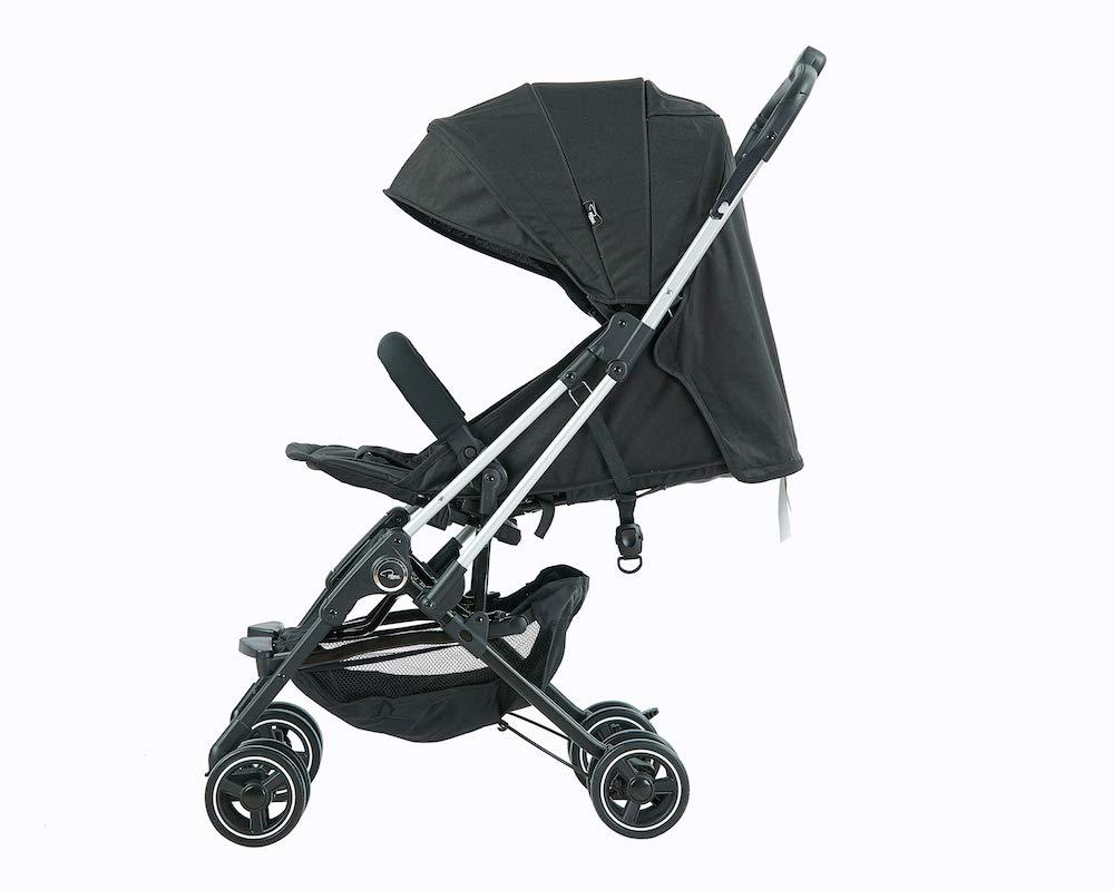 5,6 kg Roma Capsule2 color negro con chasis plateado brillante Cochecito de viaje compacto para avi/ón
