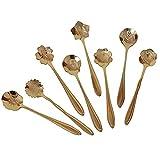 BeneKing Set of 8 Flower Coffee Spoon Stainless Steel Tea Spoon Dessert Spoon Scoop,Gold