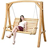 AMANKA Garden Swing Bench Seat made of Larch Wood | 3 Seater Garden Hammock for Indoors and Outdoors
