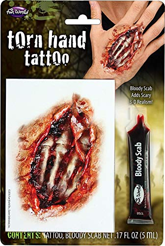Fun World Unisex-Adult's Halloween Tattoo Wound with Bloody Scab, Multi, Standard