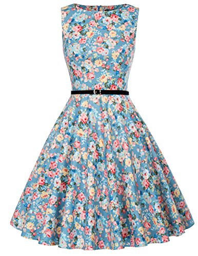 (GRACE KARIN Women's Wedding Dress with Belt A Line Floral Print Size L F-59)