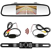 Emmko Backup camera Wireless and Mirror Monitor kit 9V-24V system Waterproof Universal Rear view Camera with 7 LED IR Night Vision 4.3 Display Guild lines for Car/Vehicle/SUV/Pickup