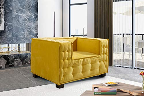 Iconic Home Bryant Accent Club Chair Velvet Upholstered Tufted Wide Armrest Tight Back Shelter Arm Design Espresso Finished Wooden Legs Modern Contemporary, YELLOW