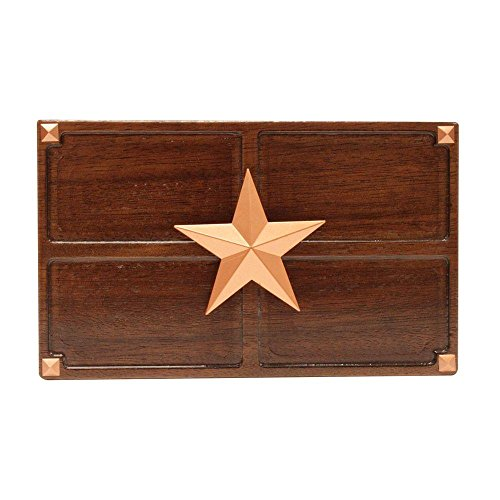 Hampton Medallion (Wireless or Wired Door Bell, Medium Oak Wood with Texas Star Medallion)