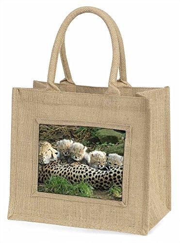 Advanta Cheetah und Neugeborene Große Einkaufstasche Weihnachten Geschenk Idee, Jute, beige/natur, 42x 34,5x 2cm