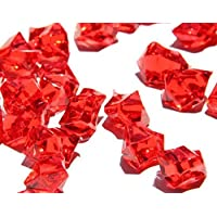 Homeneeds Inc Ice Rock Crystals Treasure Gems for Table Scatters, Vase Fillers, Event, Wedding, Birthday Decoration Favor, Arts & Crafts (1 lb. Bag) (Ruby RED)