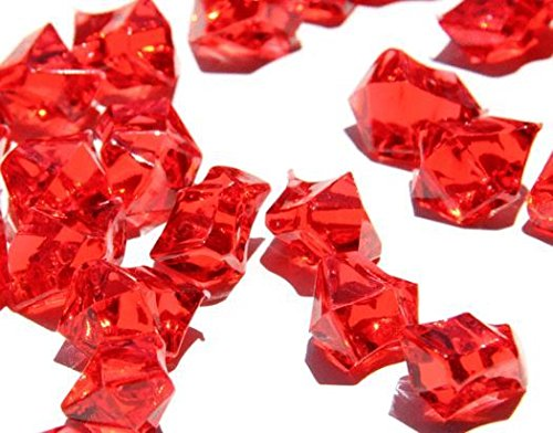 Homeneeds Inc Ice Rock Crystals Treasure Gems for Table Scatters, Vase Fillers, Event, Wedding, Birthday Decoration Favor, Arts & Crafts (1 lb. Bag) (Ruby RED) ()