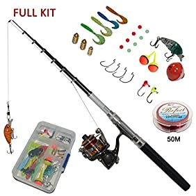 Carbon Fiber Pen Fishing Rods and Spinning Reel Combos Mini Pocket Size Pole 39 Inches and 55 inches with Hooks Lures Floats Line in Tackle Box Full Kit