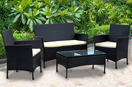 EBS Patio Table and Chair Set, Outdoor Dining Furniture, Waterproof, Cushioned Seating Rattan Wicker