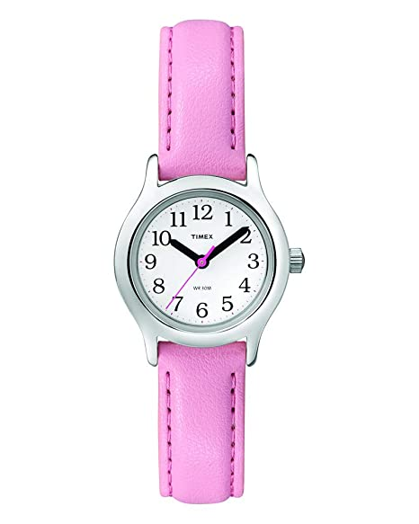 63d65d04e Amazon.com: Timex Girls T79081 My First Easy Reader Watch with Pink Faux Leather  Strap: Timex: Watches