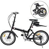 Ridgeyard Foldable Bicycle 20 Inch 6-Speed Folding Bike + LED Battery Light + Seat Bag + Bike Bell