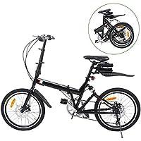 Ridgeyard Vélo pliant Bicyclette pliable 20 pouces 6-Speed + Lumière de batterie de LED + sac de siège + cloche de vélo