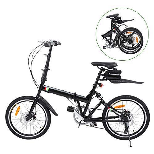 Ridgeyard Bicicleta Plegable 20 Pulgadas de 6 velocidades Bici Plegable + Luz de la batería del LED + Asiento Bag + Bell de la Bici (Negro) Ridgeyard Co .ltd