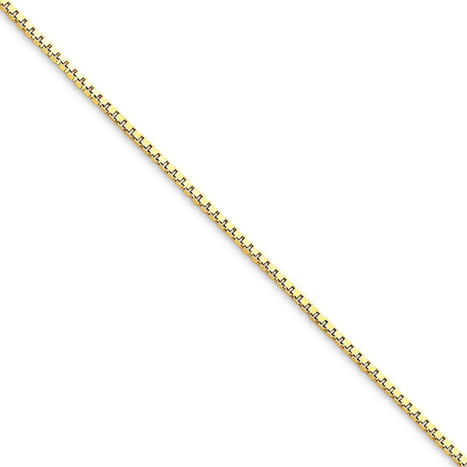 """10K Yellow Gold 1.10mm Box Chain Anklet, 9"""""""