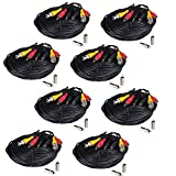 VideoSecu 8 Pack 150ft HD Security Camera Cables Pre-made All-in-One BNC Audio Video Power Extension Wire Cord with BNC RCA Connectors for 720P 960P 1080P 960H CCTV System WVK