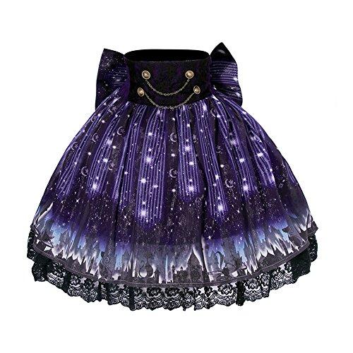 Womens Chiffon Print Lolita Skirt High Waist Mini Tutu Skirts Purple XXL