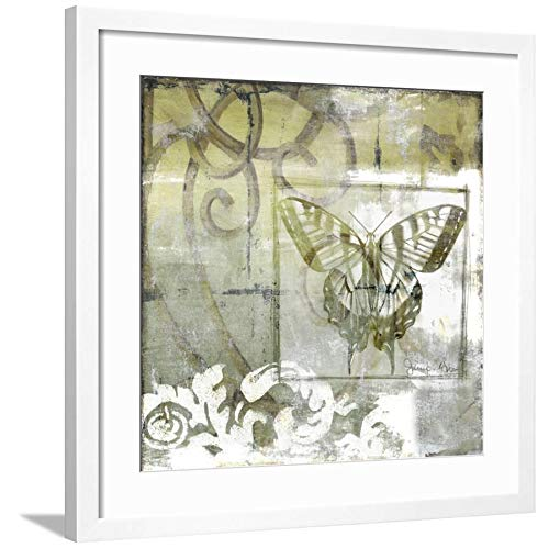 ArtEdge Non-Embld. Butterfly & Ironwork III by Jennifer Goldberger, Wall Art Framed Print, 24x24, Soft White Mat