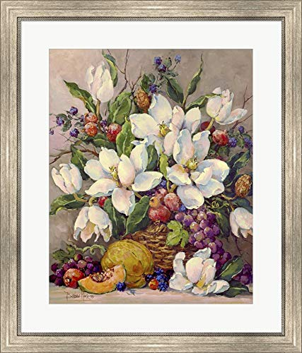 Fruit and Magnolias by Barbara Mock Framed Art Print Wall Picture, Silver Scoop Frame, 26 x 30 inches
