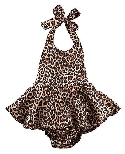 Halter Onesie (Baby Girls Kid Halter Lace Romper Backless Sunsuit Leopard Jumpsuit Dress (6-12 Months))
