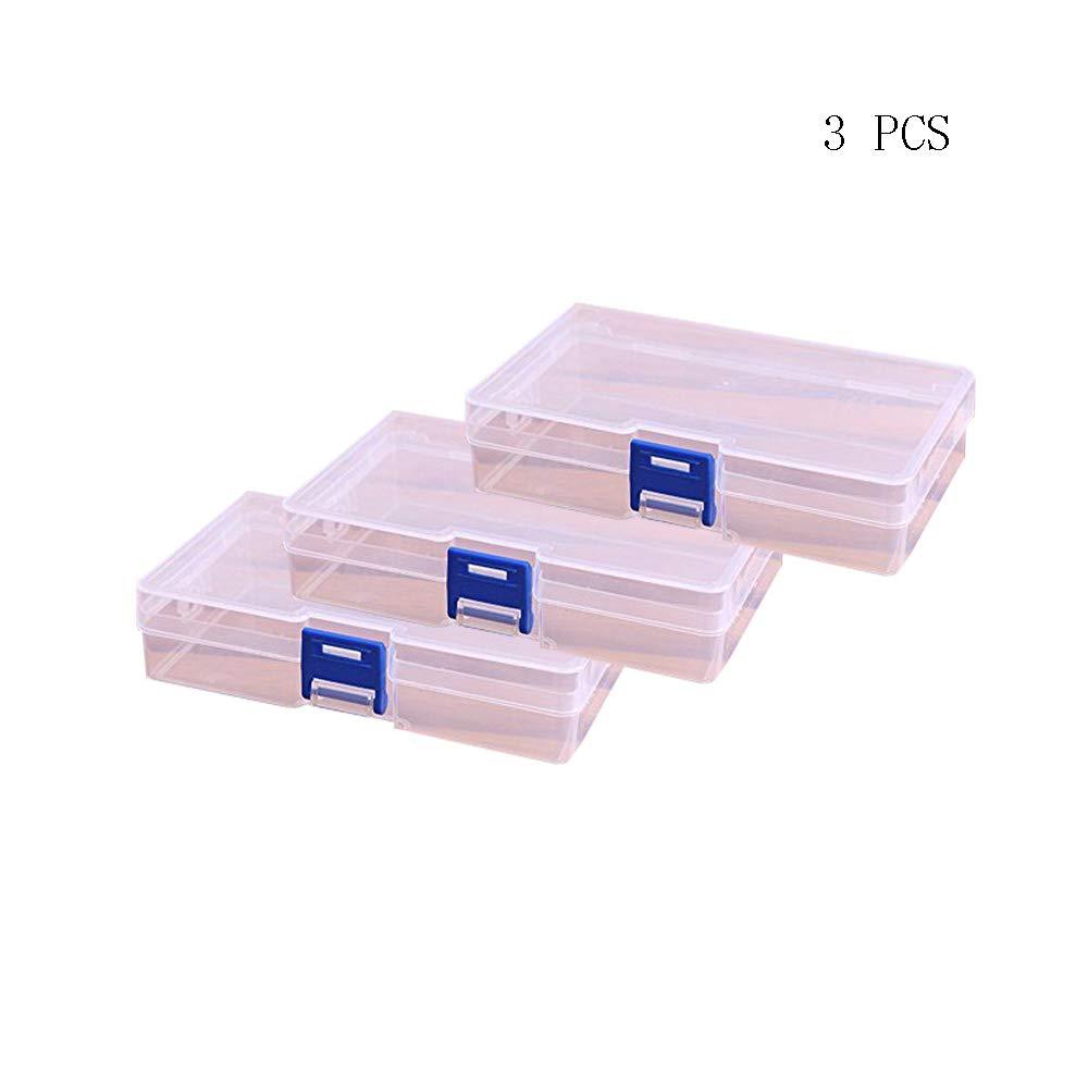 Lautechco 3pcs Transparent Box Cosmetics Storage Box Plastic Small Rectangle PP Box With Lid Parts Box