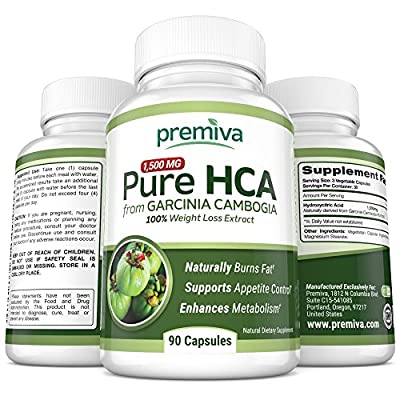 Pure HCA from Garcinia Cambogia - Ultra Potency - 100% Weight Loss Extract - Appetite Suppressant - Effective Weight Loss For Women And Men - 60 Day Happiness Guarantee