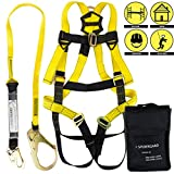 Spidergard SPKIT02 Single D-Ring Full Body Fall Protection Safety Harness Combo with 6ft Shock Absrober Rebar Hook Lanyard (2 Packs, Yellow, L-XL)