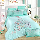 TheFit Paisley Textile Bedding for Adult U211 Green Princes Girl Butterfly Duvet Cover Set 100% Tencel, Queen King Set, 4 Pieces (Queen)