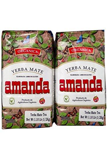 YERBA MATE AMANDA ORGANICA/USDA ORGANIC-DETOX-500 GR/1.1 LB (2 PACK) IMPORTED FROM ARGENTINA