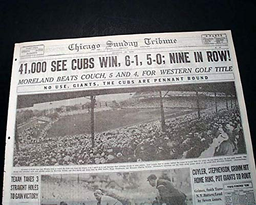 Best CHICAGO CUBS Baseball Win w/Great WRIGLEY FIELD Photos 1932 Old Newspaper CHICAGO SUNDAY TRIBUNE, section 2 (sports) only, Aug. 28, 1932