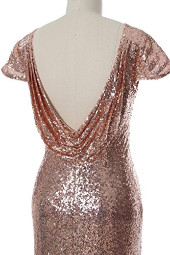 Rot Wedding Bridesmaid Gown MACloth Short Sequin Sleeves Formal Cap Elegant Dress FFqv0ax