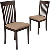 Flash Furniture 2 Pk. Wellington Espresso Finish Wood Dining Chair with Rail Back and Brown Fabric Seat